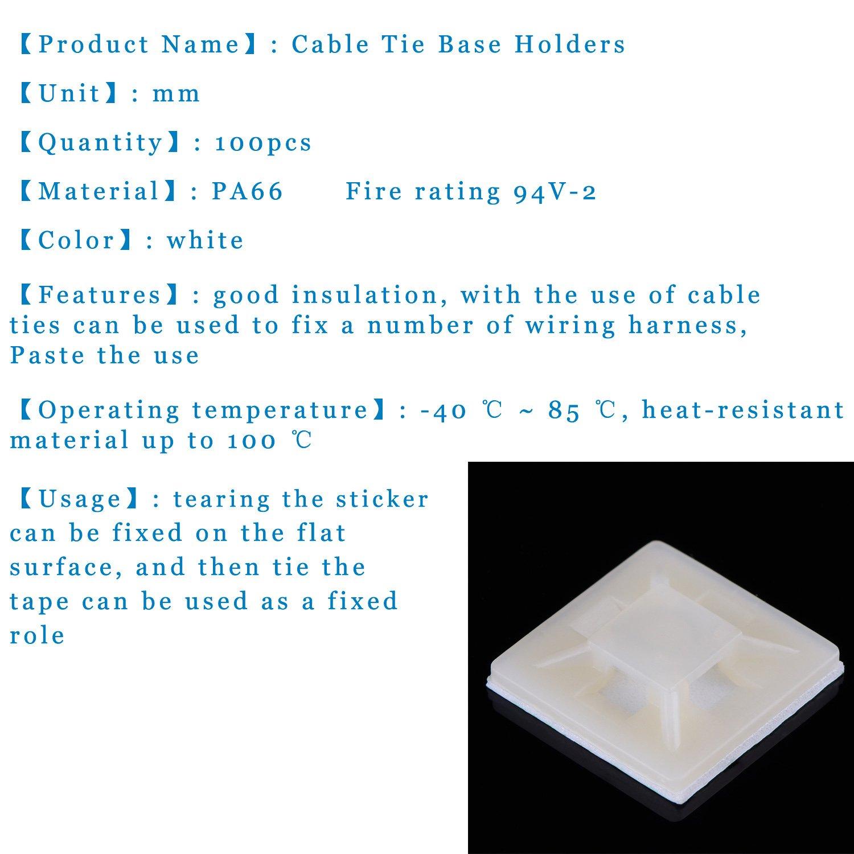 100 Pack Self Adhesive Cable Tie Base Holders 20 Mm X 4 Wiring Harness Zip Ties White Diy Tools