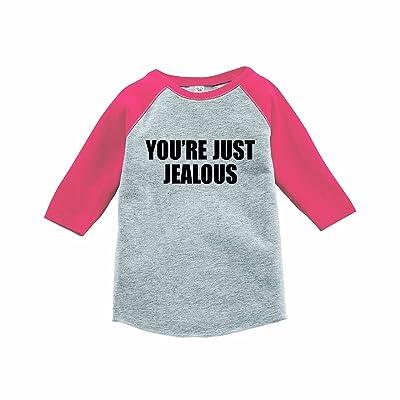 7 ate 9 Apparel Funny Kids You're Just Jealous Baseball Tee Pink