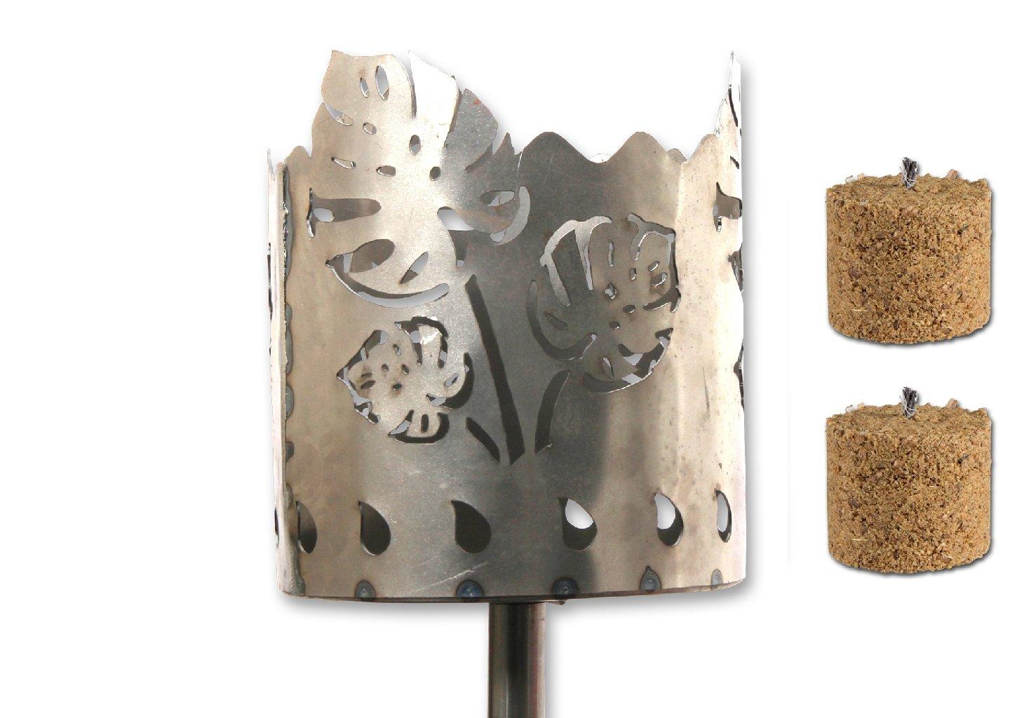 /Ø 15cm 2 Holzbrennelementen Garten Sommer Fackel Windlicht aus Metall H/öhe: 128 cm Unbekannt Gartenfackel auf Stecker Bl/ätter INKL