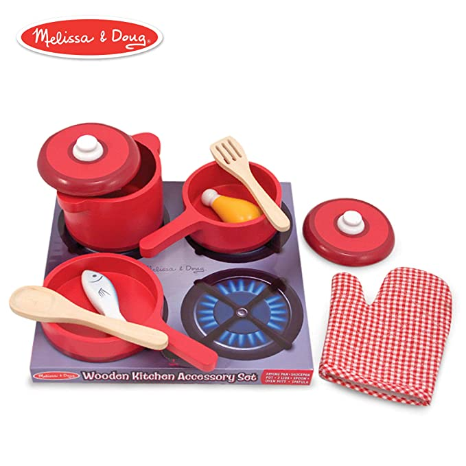 Melissa & Doug Deluxe Wooden Kitchen Accessory Set - Pots & Pans (8 Pieces)