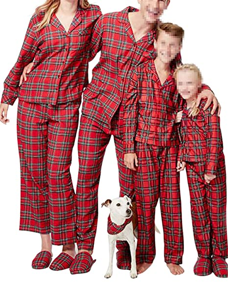 40b47eefc6ba Mai Poetry Christmas Pajamas Matching Sets Plaid Button Front Blouse Pajama  Set for Family (5T
