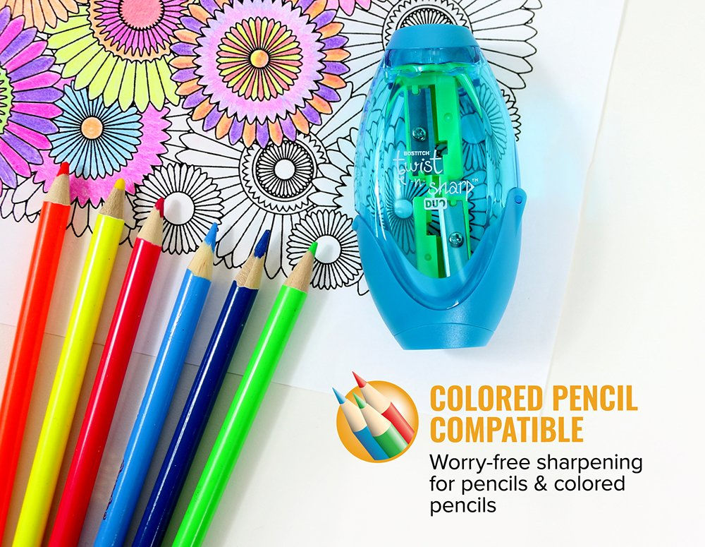 Bostitch Office Twist-N-Sharp Manual Pencil Sharpner, 2 Holes for Standard and Jumbo Pencils with Rachet Technology, Perfect Kids Pencil Sharpener (PS2-ASST) by Bostitch Office (Image #3)