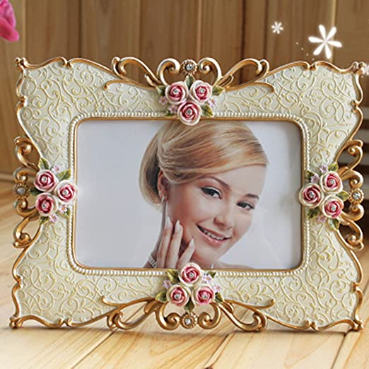 Spritech(TM) Fashion Retro Vintage Pink Rose Flower Home Decor Photo Frame Picture Resin with Rhinestone