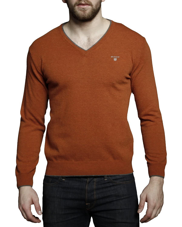 gant weste orange, gant pullover mit v ausschnitt