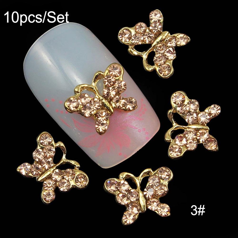 Ownsig 10pcs 3D Chic Gorgeous Alloy Jewelry Black Pink White Silver Colored Butterfly Nail Art Glitter Decoration Glitter DIY Set