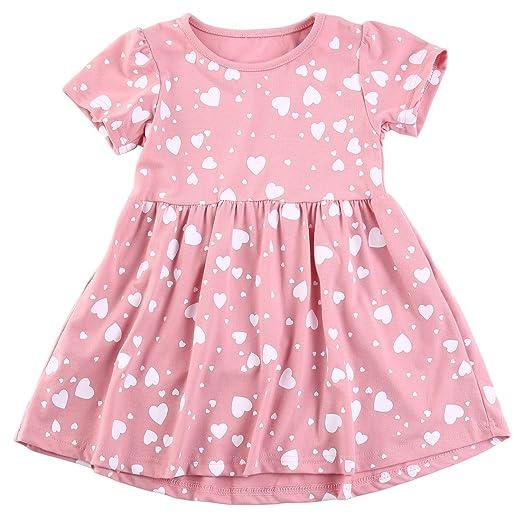 3f59b29bb3ac9 Baby Girls Summer Dresses Short Sleeve Cute Heart Printed Toddler Kids  Beach Dress