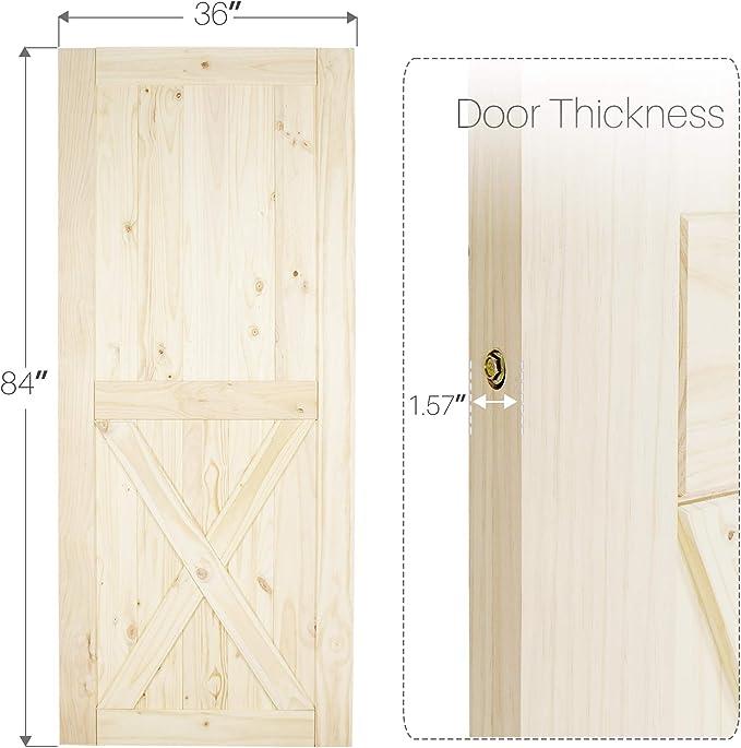 Belleze - Puerta corredera de madera de pino sin acabar, solo perforada, 91,44 cm x 213,36 cm: Amazon.es: Bricolaje y herramientas