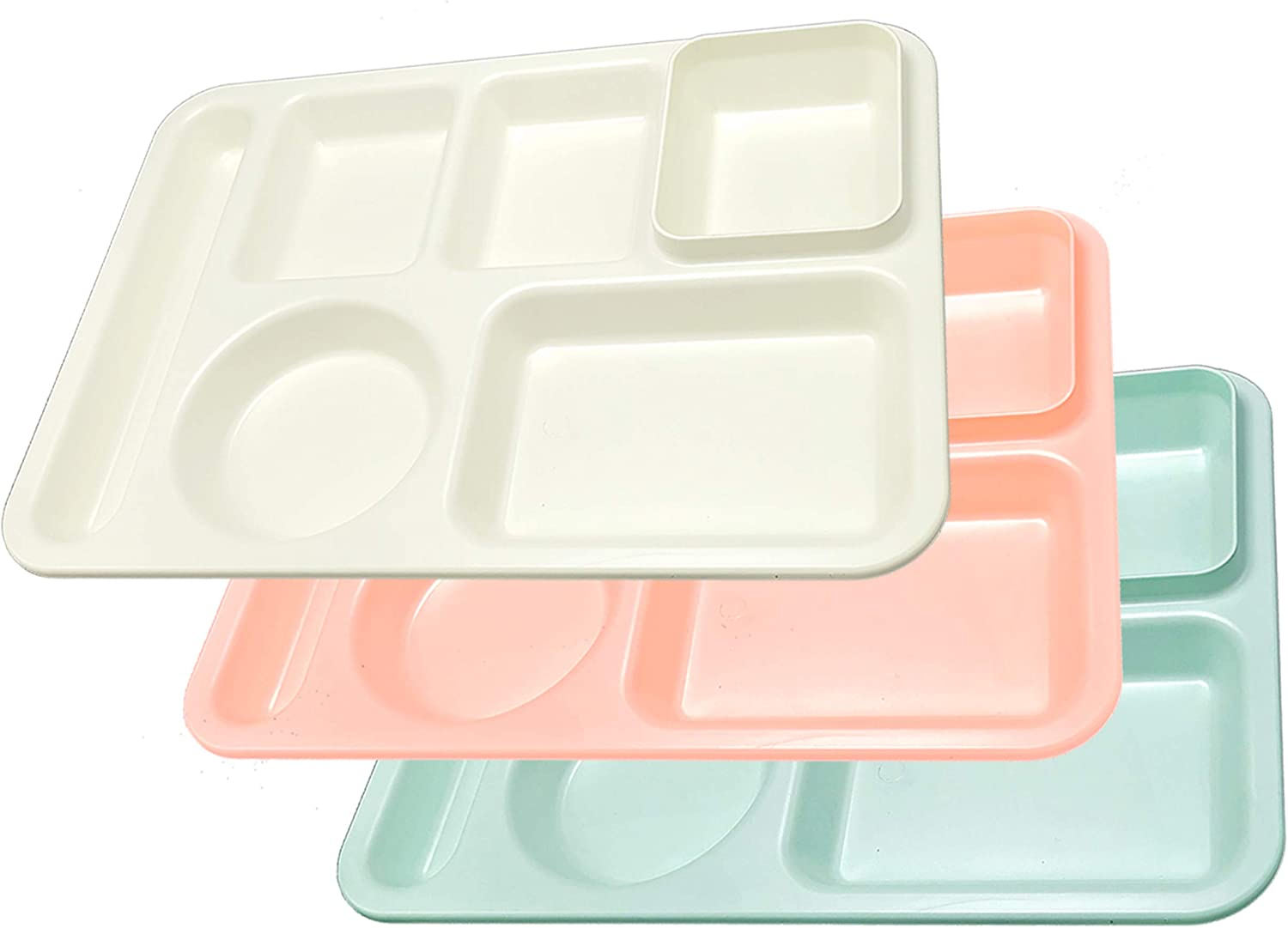 Happy Starla - Made In USA - Classic Plastic Divided Plates for Adults, School Lunch Trays for Kids,Toddlers, Fast Food Trays Cafeteria Trays with Compartments 14x10 (Mix 3 - Mint/Ivory/Pink, 3)