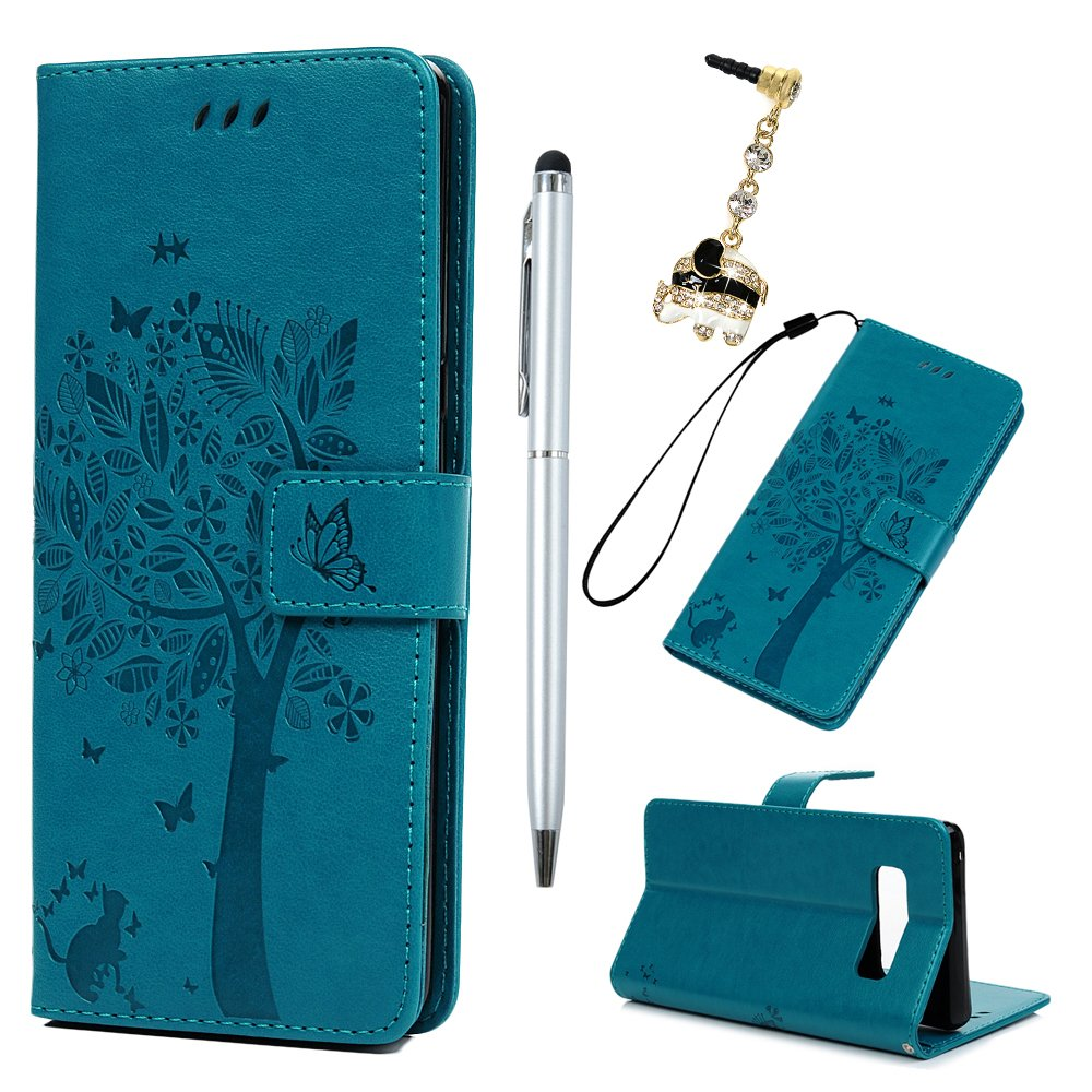 For Samsung Galaxy Note 8 Case - Badalink Galaxy Note 8 Wallet Case Tree Emobssed PU Leather Case Folio Flip Case Magnetic Closure Cover for Samsung Galaxy Note 8 with Card Holder Hand Strap & 1 Touch Pen & 1 Dust Plug,Blue