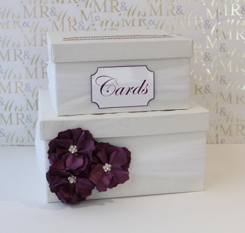 ウェディングカード、お金ボックス 14Wx14Lx7H  White Box+White Tulle+Plum Flower B00ZSDDS7Q