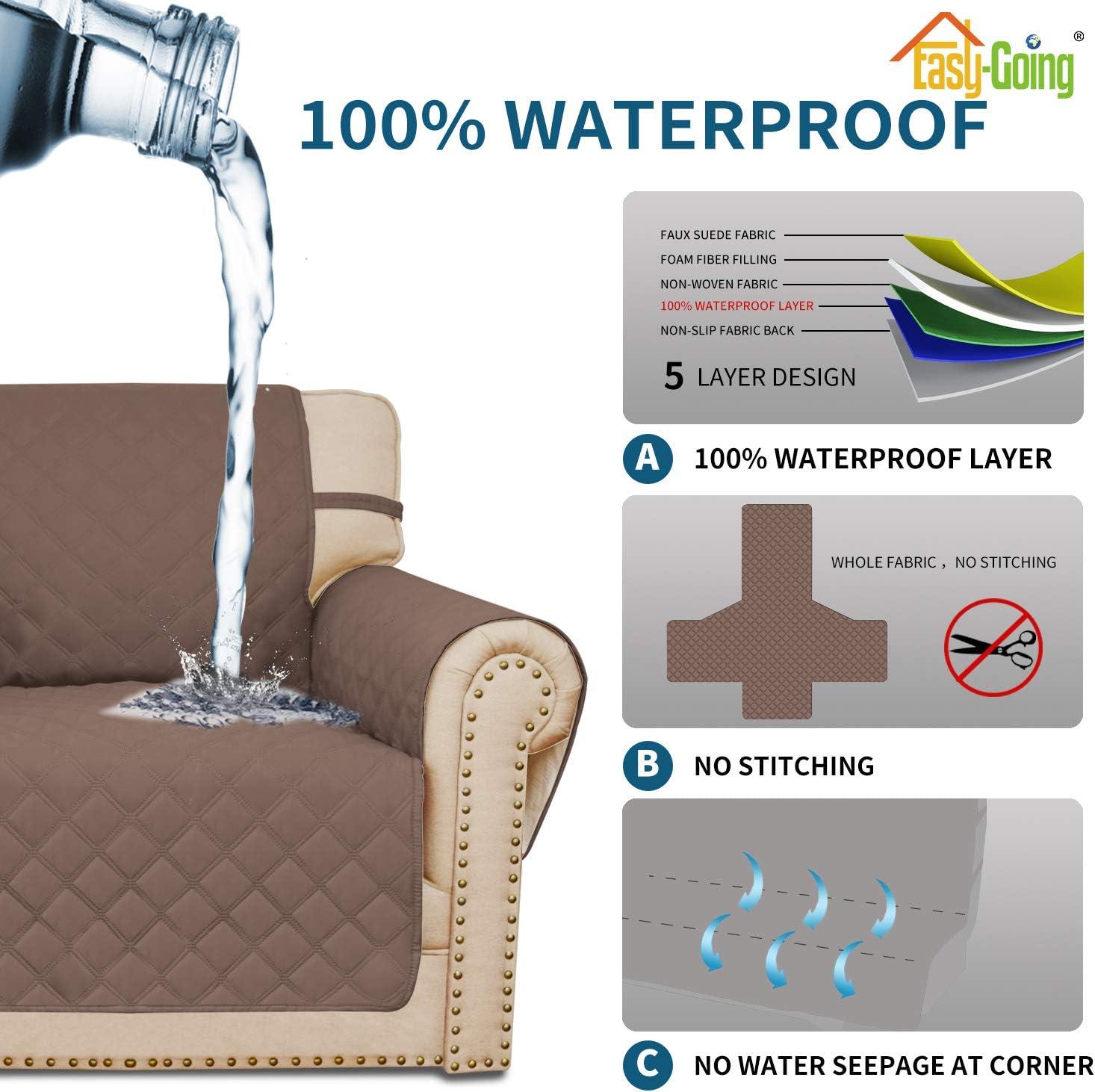 Sofa, Blue 100% Waterproof Sofa Cover Couch Cover 3 Cushion Sofa ...