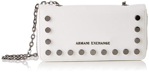 Armani Exchange - Stud Chain Wallet, Carteras de mano con asa Mujer, Blanco (