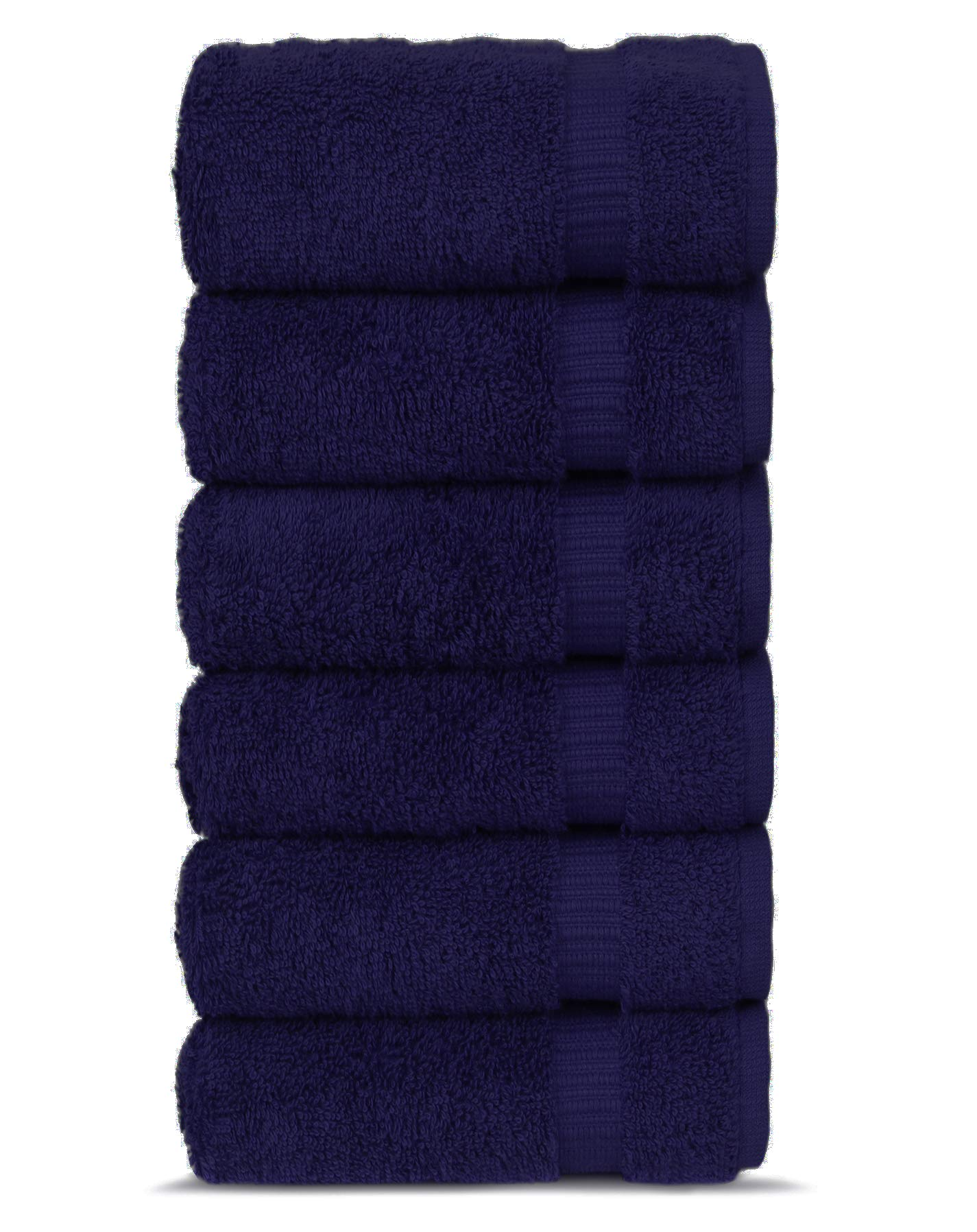 Chakir Turkish Linens Turkish Cotton 16x30 Luxury Hotel & Spa 6 Pack Hand Towel, Navy