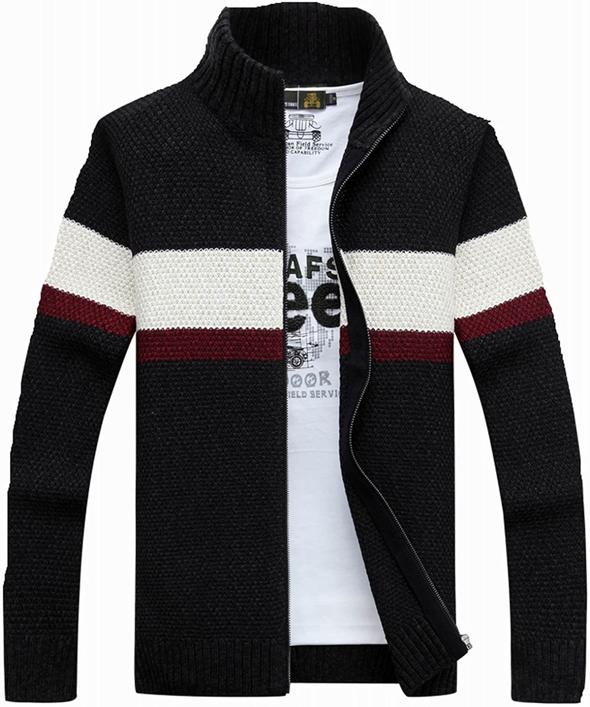 fanhang Mens Long Sleeve Slim Fit Zip Up Casual Cardigan Sweater Knitwear