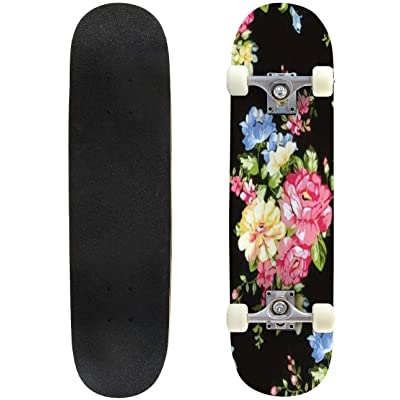 """Elegant Floral Pattern in Small Hand Draw Flower Liberty Style Outdoor Skateboard 31""""x8"""" Pro Complete Skate Board Cruiser 8 Layers Double Kick Concave Deck Maple Longboards for Youths Sports : Sports & Outdoors"""