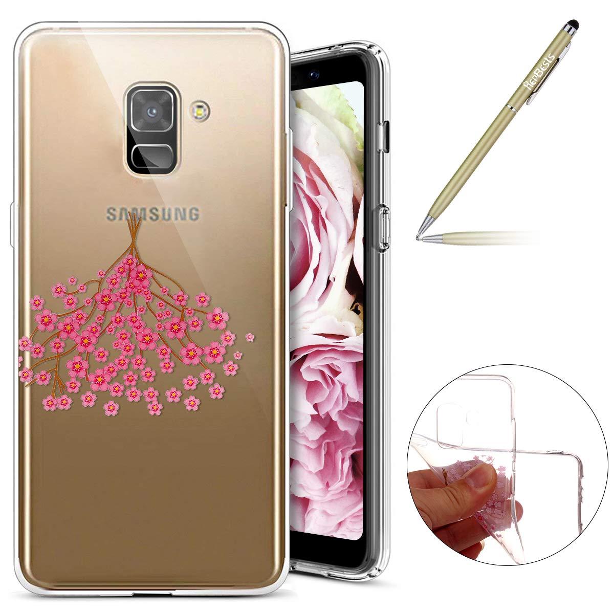 Für Samsung Galaxy A8 2018 Hülle, Durchsichtige Schutzhülle für Samsung Galaxy A8 2018, Samsung Galaxy A8 2018 Silikon Hülle Blumen, Herbests Schönes Bunte Kirschblüten Rosa Blumen Floral Handyhülle Ultra Slim Crystal Clear Silikonhülle Schutzhülle TPU Kir
