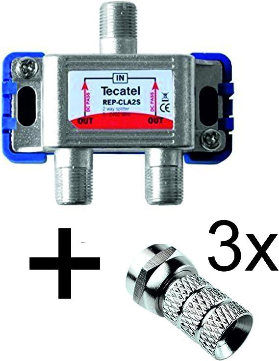 Tecatel REPARTIDOR 2 Salidas TV-Sat + Conectores F ...