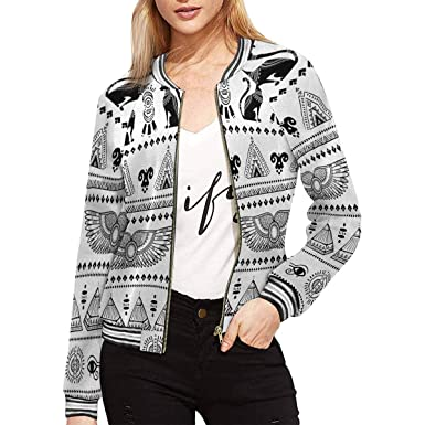 efb5ceeb316a26 INTERESTPRINT Women s Tribal Ethnic Pattern with Egypt Symbols Long Sleeve  Zip up Classic Jacket XS