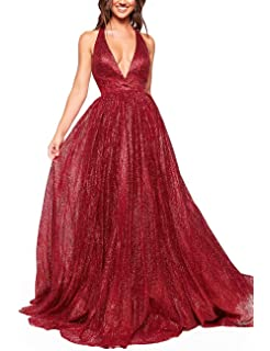 c47c3b1530e Women s Sparkling Deep V-Neck Prom Dresses Long Backless Tulle Formal  Evening Gown