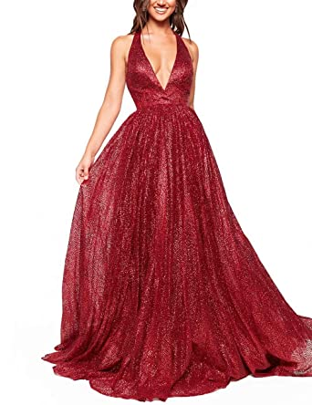 0feda8ba228 Women s Glittery Deep V-Neck Prom Dresses Backless Evening Gown(burgundy02)