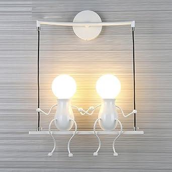 Personnages Applique Créatif Moderne Le Deux Fer Lampe Conception nv8my0NOw