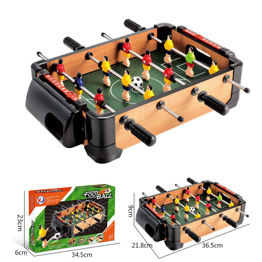MSTQ Large Football Table Wooden Indoor Soccer Table 6 Football Table Double Battle Desktop Board Game Children Sports Toys 9 Models (6066, L) by MSTQ