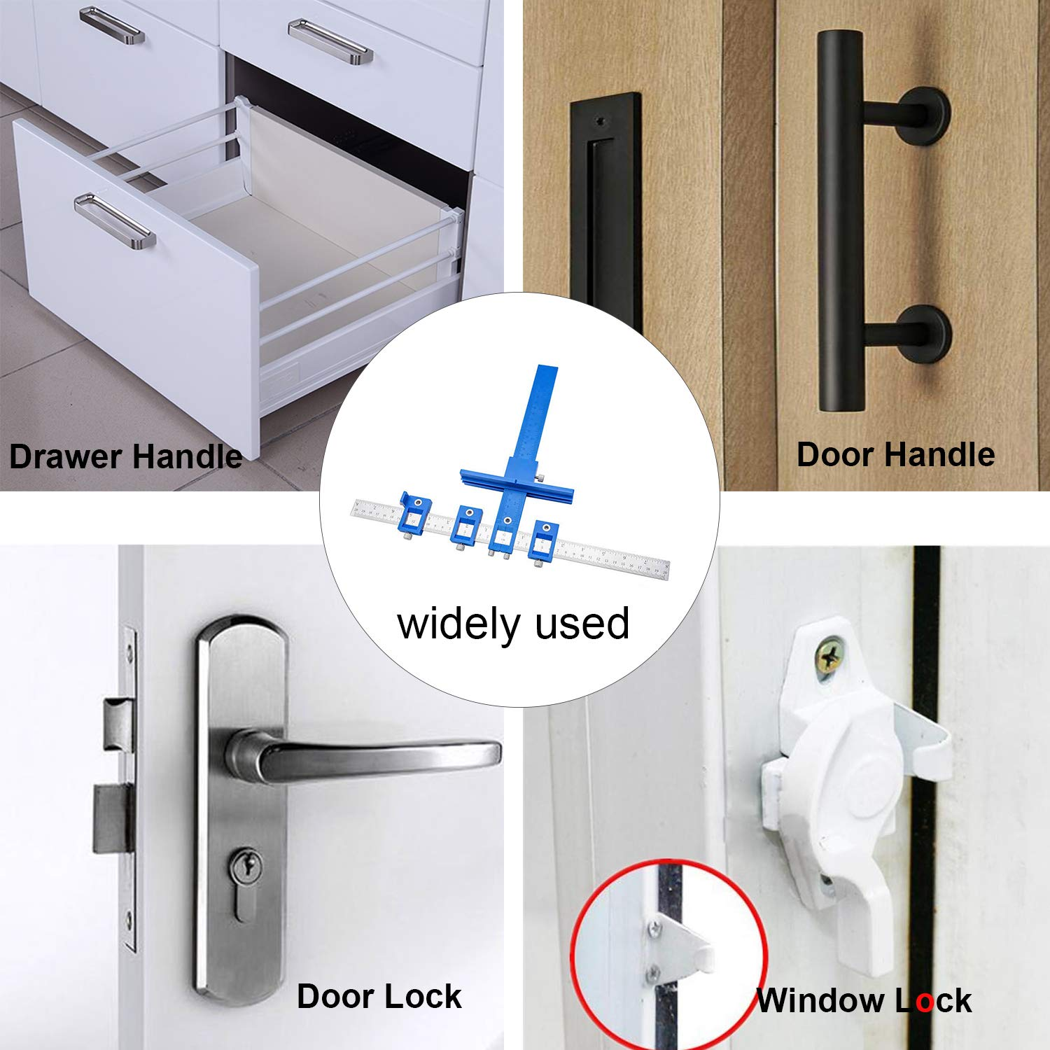 Power Tools Punch Locator Drill Guide Sleeve Cabinet Hardware Jig//Template Wood Drilling Dowelling for Installation of Handles Knobs on Doors and Drawer Pull with Storage Bag