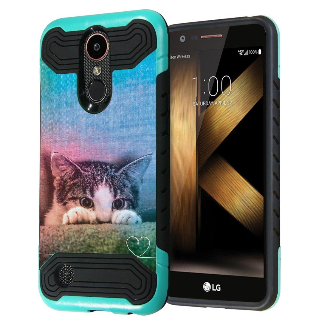 LG K20Plus / LG K20V Case, LG Harmony Case, LG Grace LTE Case, Capsule-Case Quantum Dual Layer Slim Armor Case (Teal & Black) for LG K20 Plus / K20 V/Harmony/Grace- (Kitty Cat)
