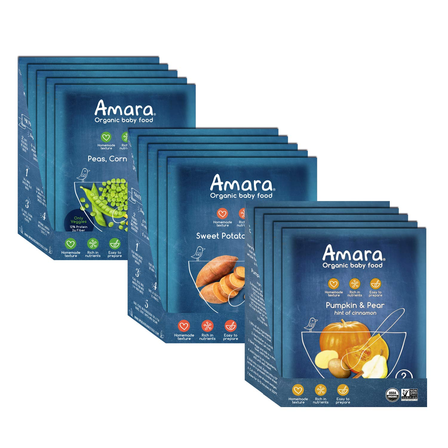 Amara Baby Food, Veggie Variety Pack. Peas, Corn & Carrots, Sweet Potato Raspberry, and Pumpkin Pear. 100% Organic Veggies for Infant & Toddler Meals - Stage 2 (15 pouches)