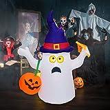 OuToorDoor Ghost Inflatable Halloween Decorations Outdoor - 5ft Inflatable Ghost with Pumpkin Decor - Halloween Blow Up Yard