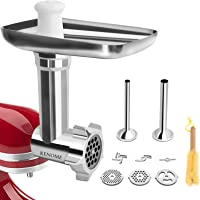 Metal Food Grinder Attachment for KitchenAid Stand Mixers Includes 2 Sausage Stuffer Tubes,Durable Meat Grinder…