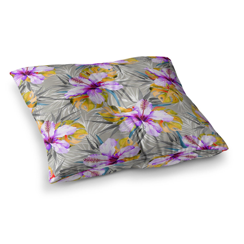 Kess InHouse Mmartabc Tropical Flowery Gray Purple Illustration 23 x 23 Square Floor Pillow