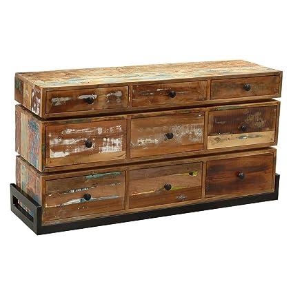 Cómoda de madera maciza Sorland reciclado y hierro: Amazon ...