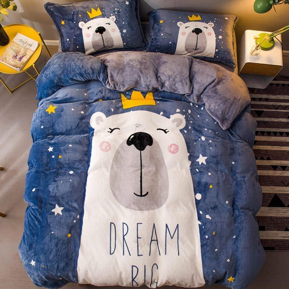Ksainiy Warm Flannel Thick Quilt Cover Sheets Coral Fleece Bedding Blue Polar Bear Childrens Children's Cartoon Bedding Set of 4 by Ksainiy