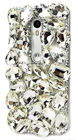 STENES Motorola Moto Droid Turbo 2 Case, Luxurious Crystal 3D Handmade Sparkle Diamond Rhinestone Clear