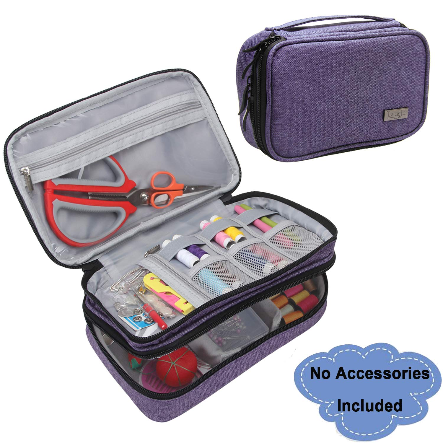 Luxja Sewing Accessories Organizer, Double-Layer Sewing Supplies Organizer for Needles, Scissors, Measuring Tape, Thread and Other Sewing Tools (NO Accessories Included), Large/Purple by LUXJA