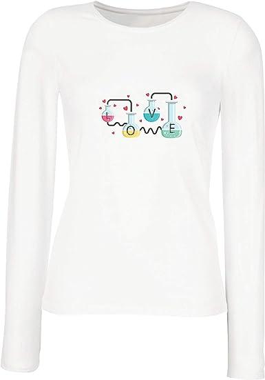 lepni.me Camisetas de Manga Larga para Mujer La fórmula del Amor, Ciencia, química - Regalo de San Valentín: Amazon.es: Ropa y accesorios