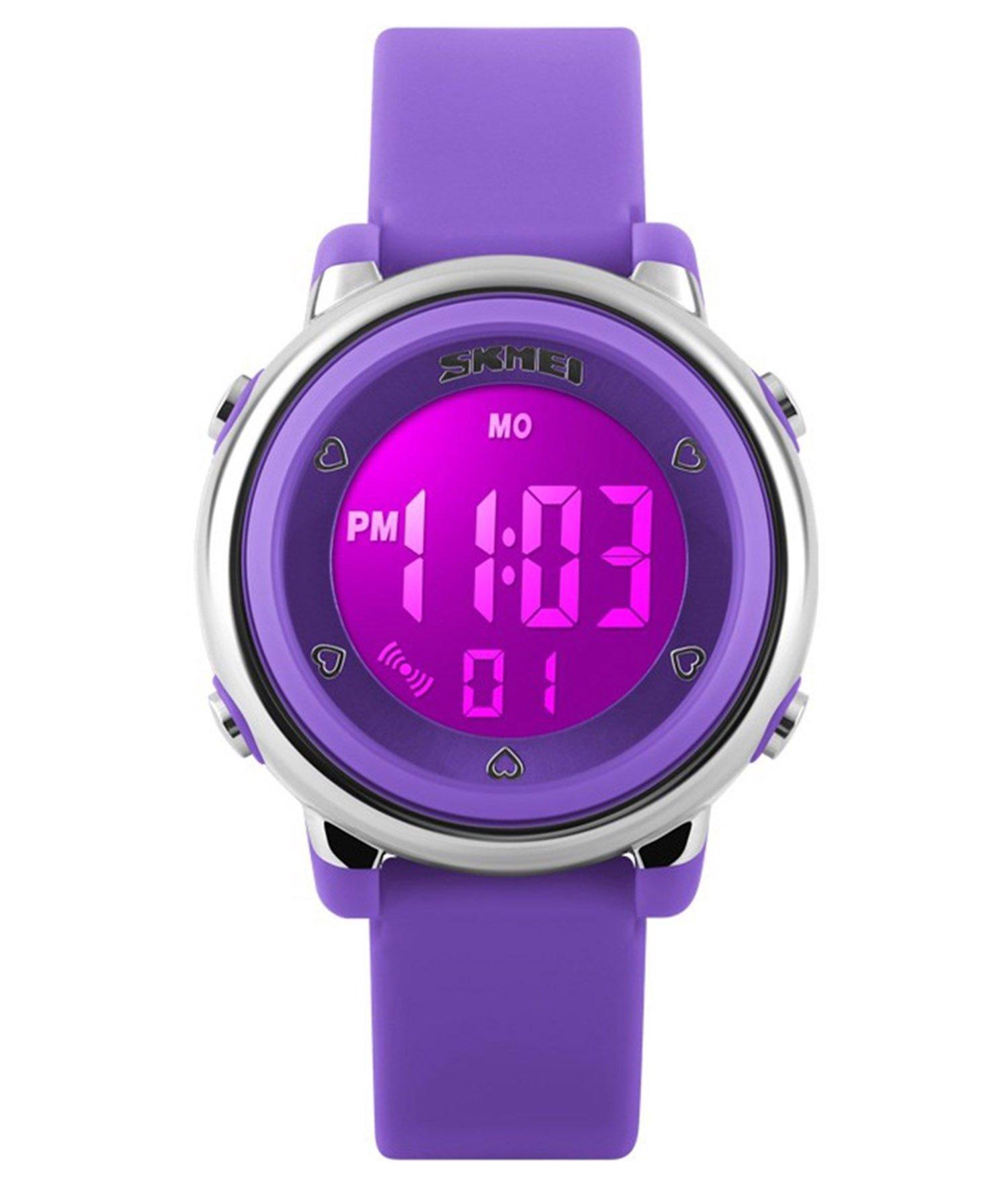 Fanmis Children Digital Display Purple Silicone Band LED Screen Waterproof Quartz Watch