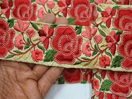 Amazon Com 2 3 Wholesale Green Embroidered Designer Trims On Beige