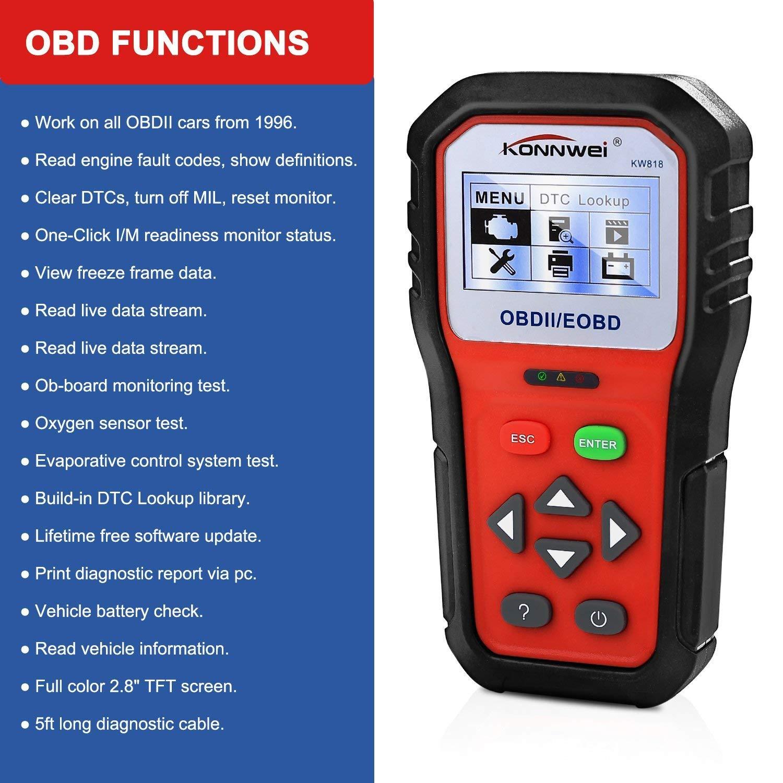 KONNWEI OBD2 Scanner Professional Car OBD II Scanner Auto Diagnostic Fault Code Reader Automotive Check Engine Light Diagnostic O2 Sensor EOBD Scan Tool for All OBDII Protocol Cars Since 1996 (KW818) by KONNWEI (Image #1)