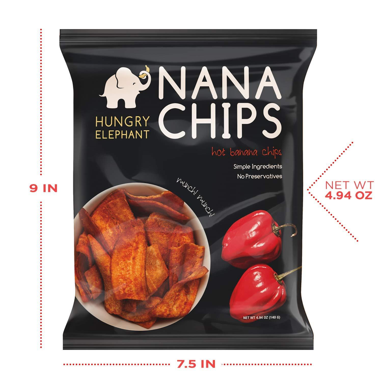 Nana Chips Unsweetened Banana Chips - Hot Snacks (5 Pack)   Organic, Vegan,  Gluten-Free, High