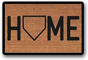 """WYFKYMXX Home Plate Home Doormat - Baseball - Coir Door Mat Welcome Mat - Housewarming Gift 18"""" x 30"""""""