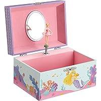 SONGMICS JMC018BU - Joyero para niños, diseño de bailarina, con espejo, melodía sobre las olas, color azul