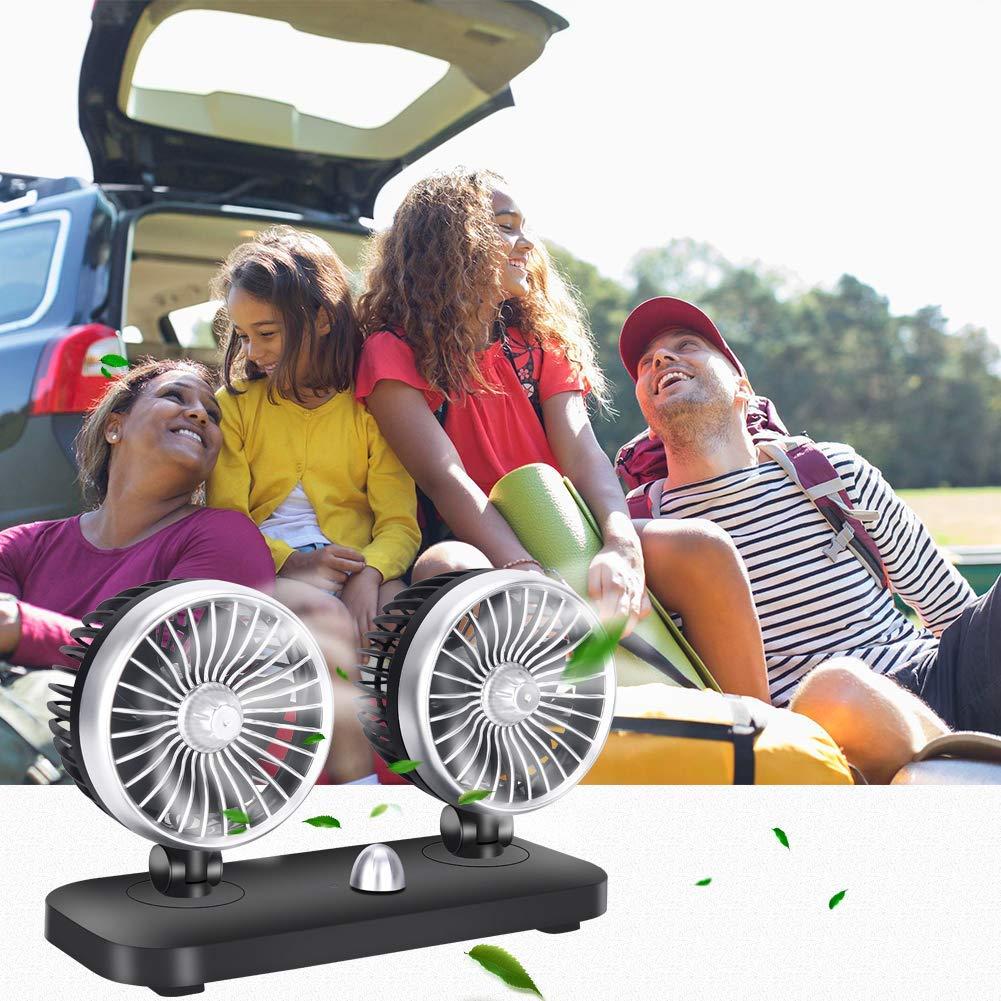 Van SUV RV Boot Ventilateur Double Ventilateur r/églable pour Voiture Camion BangShou Ventilateur de Voiture 12 V Double Ventilateur de Refroidissement de Voiture avec 2 Vitesses