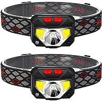 Noradtjcca Bianco e Nero 12000MCD Impermeabile 6 LED a 6 luci Ultra Luminose Torcia Lampada Frontale Lampada Frontale 3 modalit/à per Il Campeggio allaperto