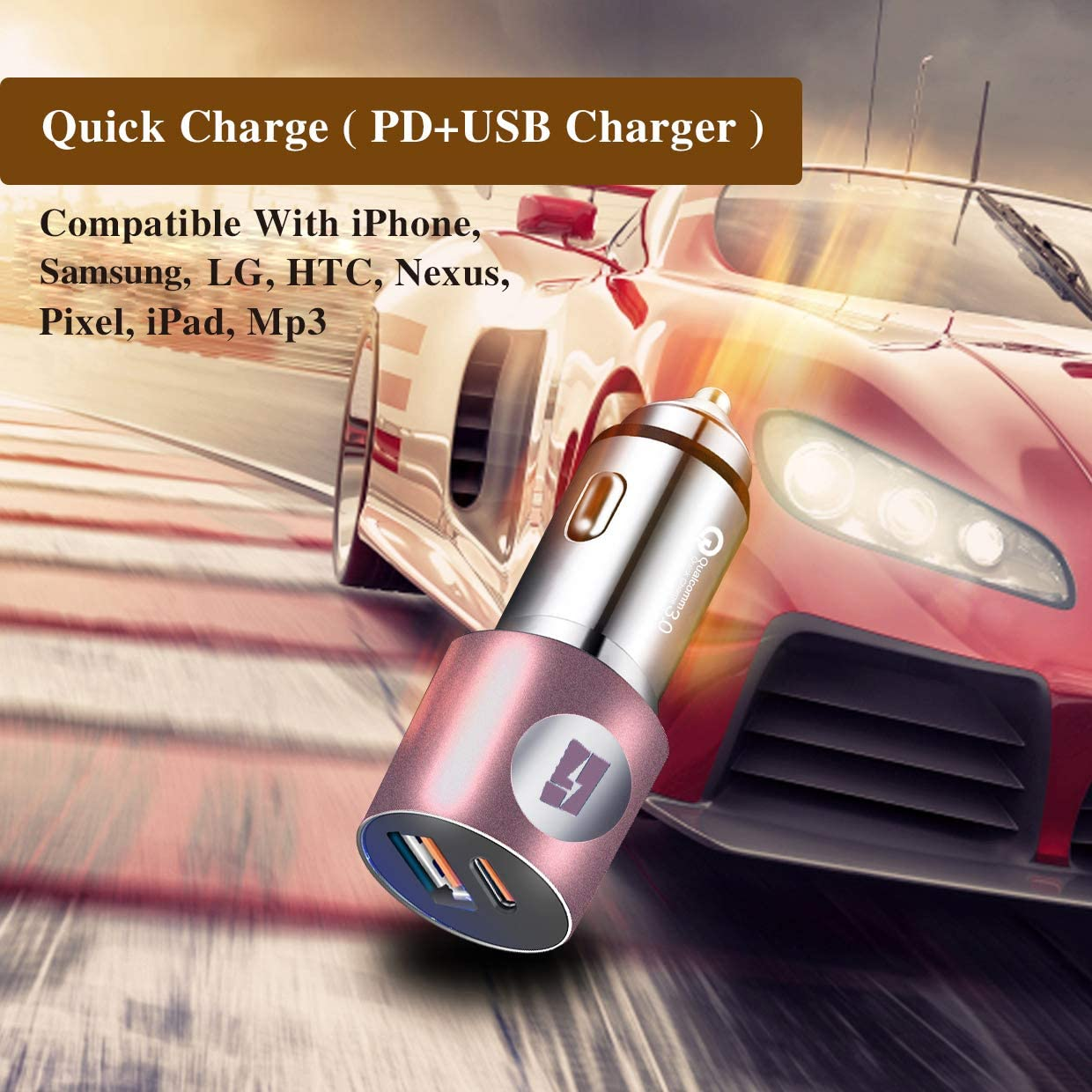 Quick Charge 3.0 Power Delivery Samsung 24W Dual Port for Most Phones Rose Gold Global Gate Car Phone Charger LG and Tablets iPhone