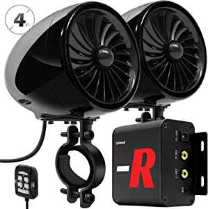 "GoHawk TJ4-R Amplifier 4"" Full Range Waterproof Bluetooth Motorcycle Stereo Speakers 1 to 1.5 in. Handlebar Mount Audio Amp System Harley Touring Cruiser ATV UTV RZR, AUX, FM Radio (TJ4-R Black)"