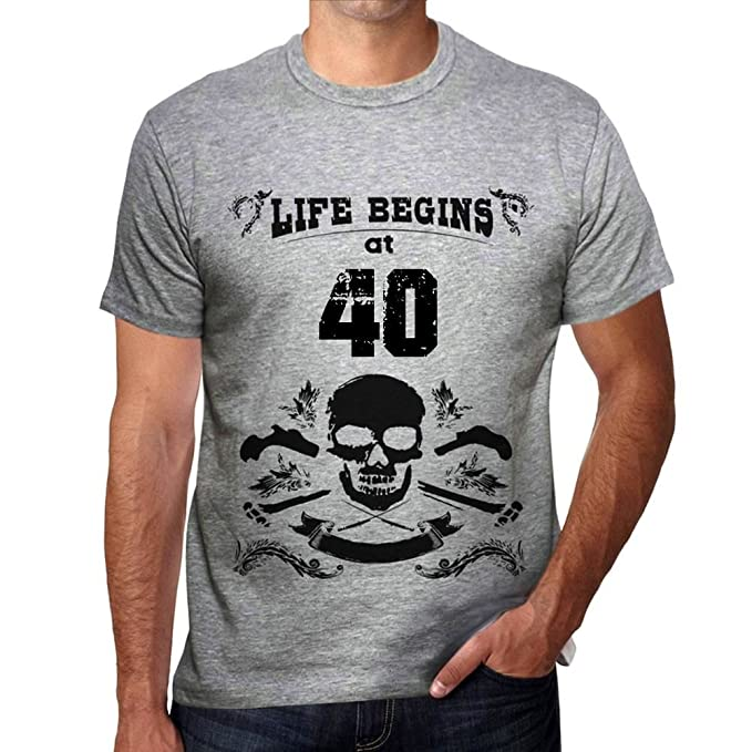 One in the City Life Begins at 40 Hombre Camiseta Gris ...