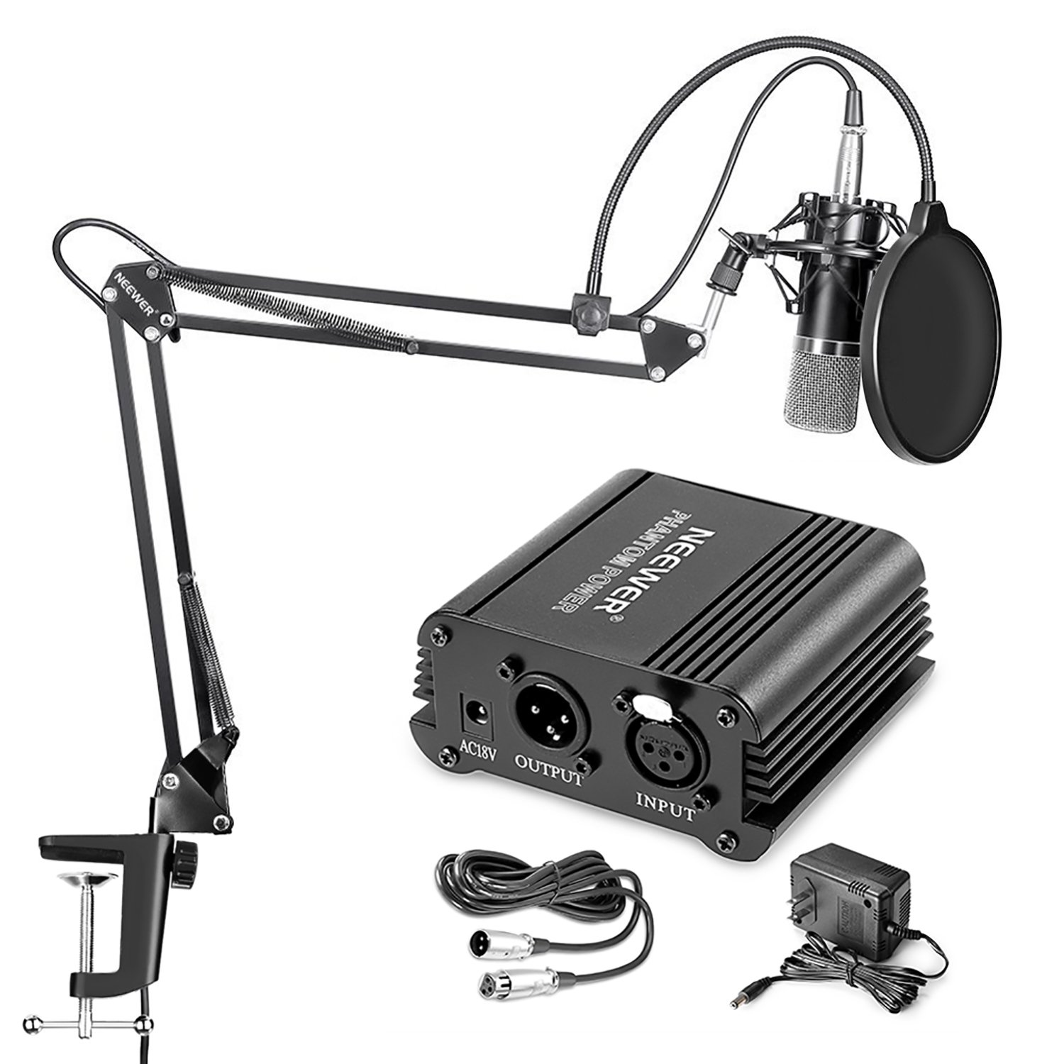 Neewer NW-700 Professional Condenser Microphone & NW-35 Suspension Boom Scissor Arm Stand with XLR Cable and Mounting Clamp & NW-3 Pop Filter & 48V Phantom Power Supply with Adapter Kit by Neewer