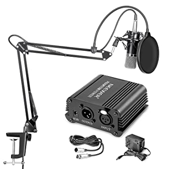 Neewer Nw 700 Condenser Microphone  amp; Nw 35 Arm Stand With XLR Cable And Mounting Clamp  amp; Nw 3 Pop Filter  amp; 48V Phantom Power Supply With A